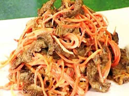 Салат из печени свиной с морковью по-корейски